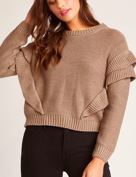 SWEATER RIBBED W/RUFFLES