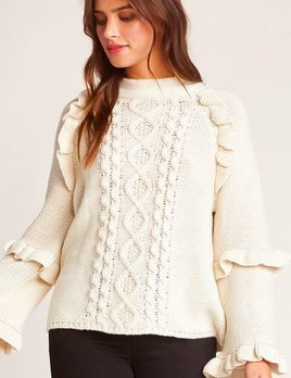 CABLE KNIT SWEATER WITH RUFFLES