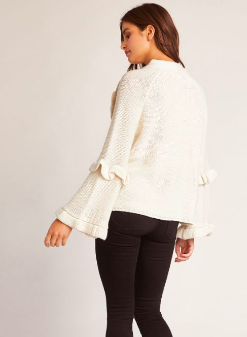 TAUPE SWEATER WITH RUFFLES