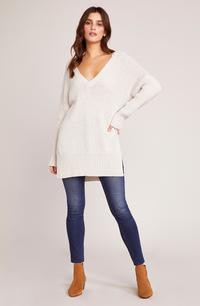 SWEATER V-NECK WIDE RIB