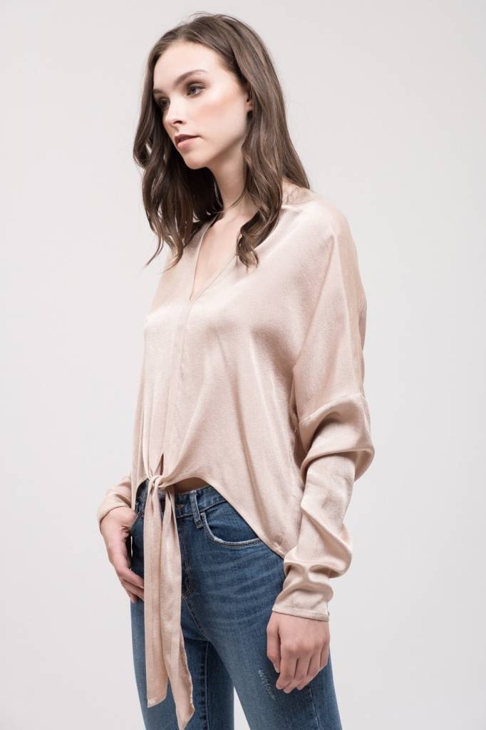 CHAMPAGNE SILK TIE FRONT TOP