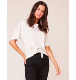 MIDNIGHT SPECKLE IVORY FRONT TIE TOP