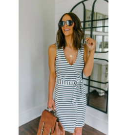 CLOSE TO ME STRIPED FAUX WRAP DRESS