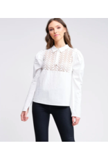LONG SLV TOP WITH LACE INSET