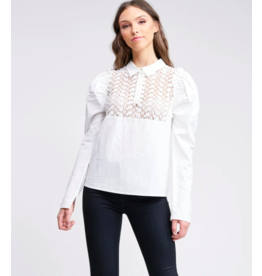 EN SAISON LONG SLV TOP WITH LACE INSET