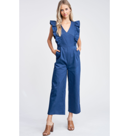 EN SAISON RUFFLED DENIM JUMPSUIT