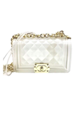THRU QUILTED PURSE WITH GOLD CHAIN OPAQUE/CLEAR