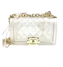 QUILTED PURSE WITH GOLD CHAIN OPAQUE/CLEAR