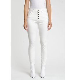 WHITE BUTTON FRONT JEANS