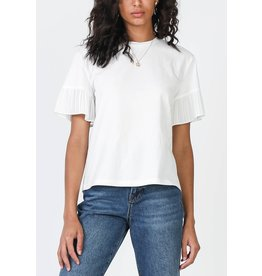ROUND NECK TEE WITH PLEATED SLEEVE