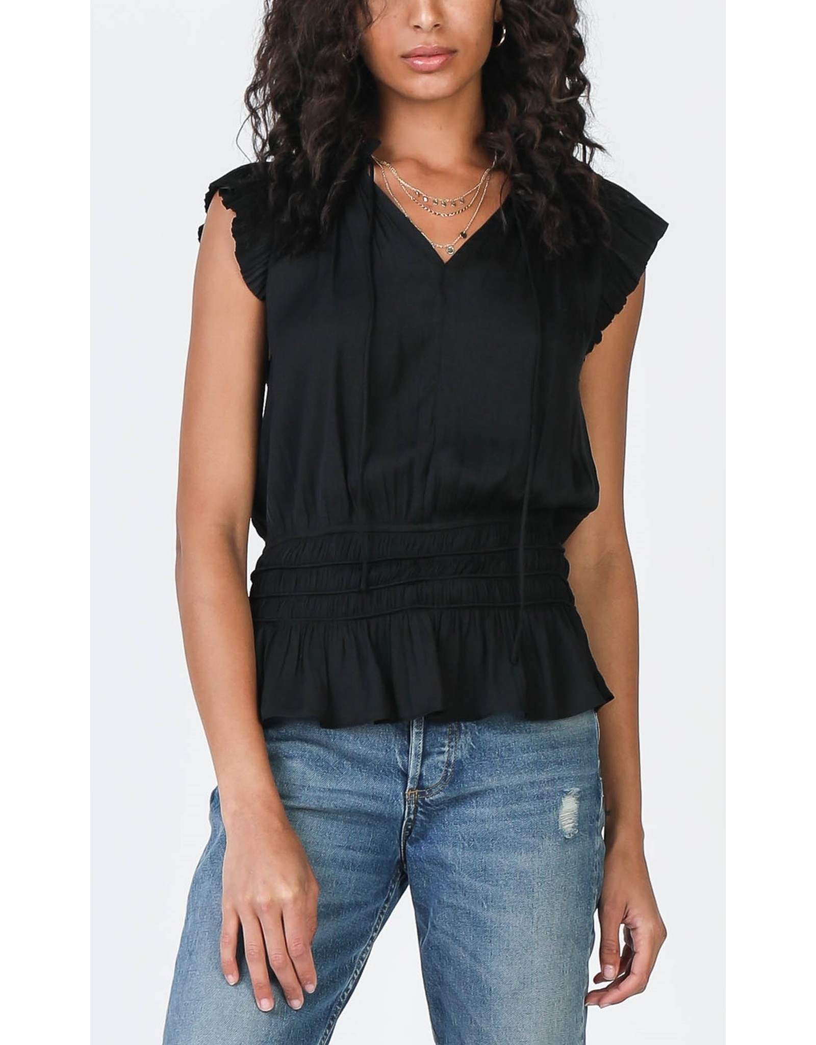 PLEATED TOP WITH SMOCK WAIST