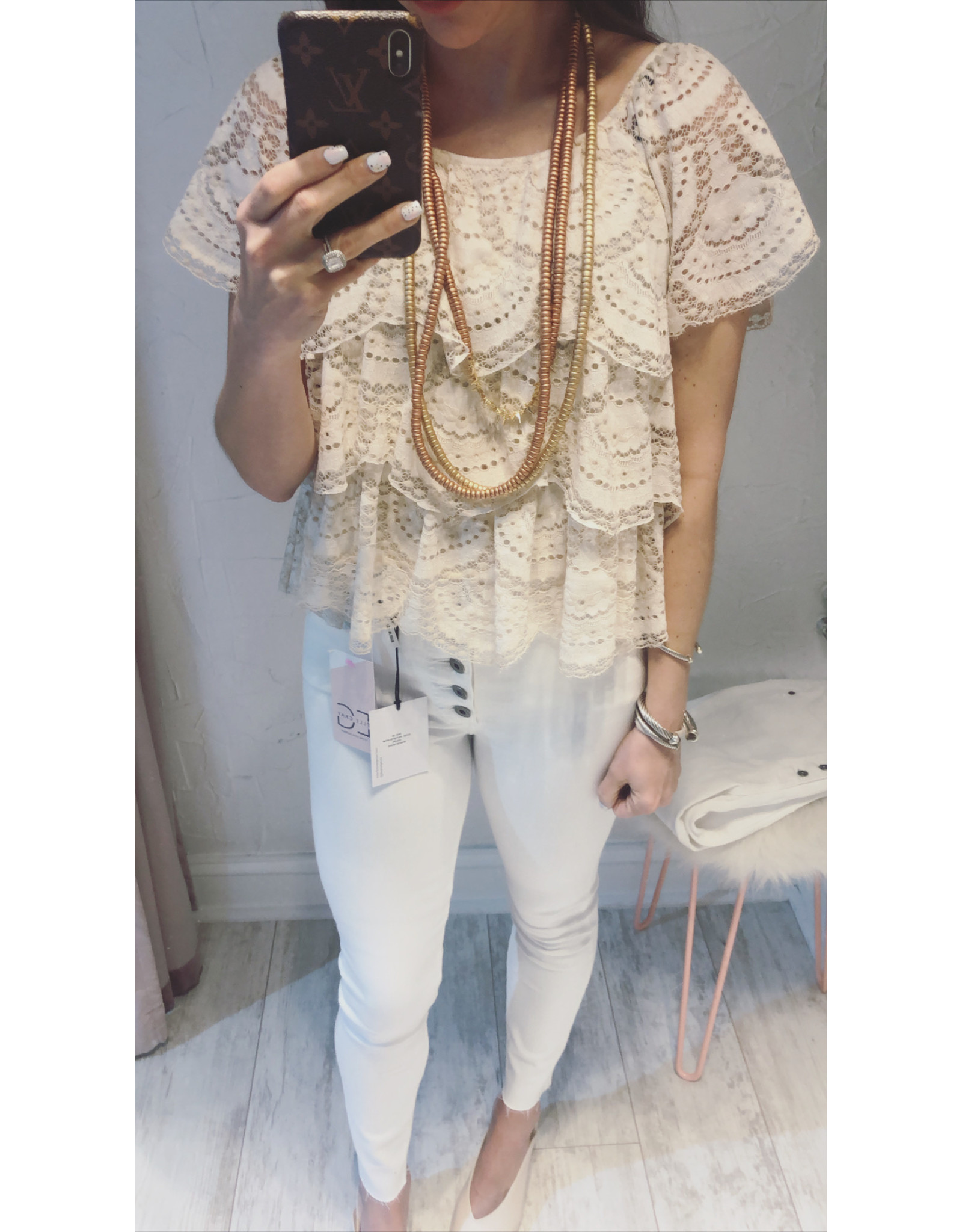 TIERED RUFFLE LACE TOP