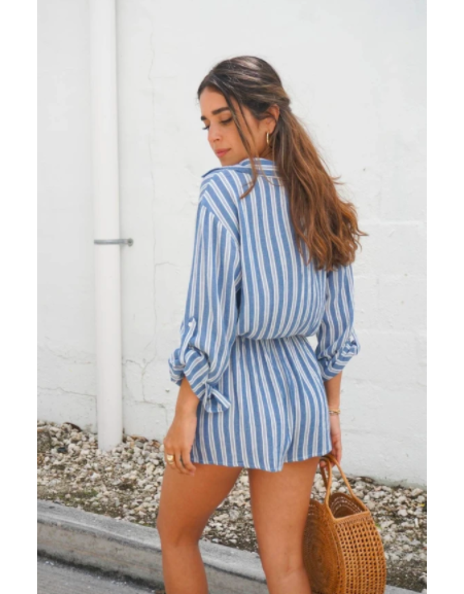 STRIPE LONG SLEEVE ROMPER