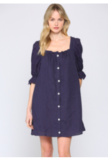 BUTTON DOWN DRESS PUFF SLEEVE WITH LACE