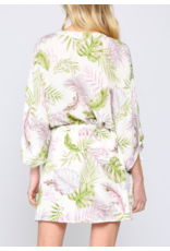 TROPICAL PRINT KIMONO DRESS