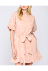 DRESS DITSY PRINT WITH PUFF SLEEVE