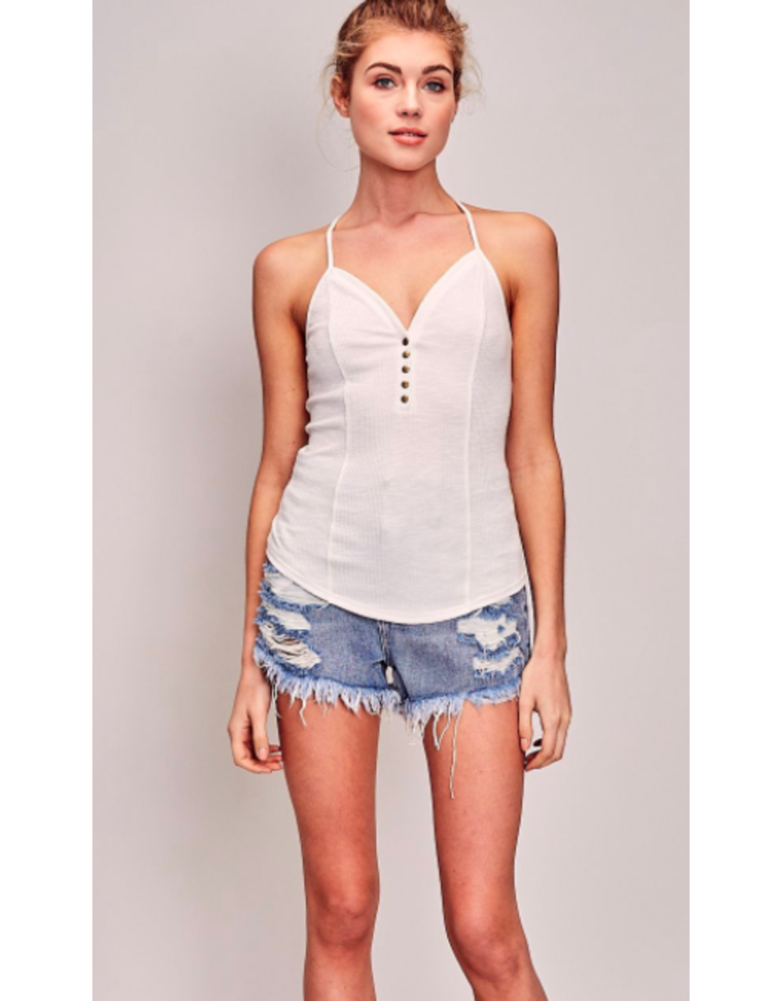 BUTTON UP RACER BACK TANK TOP