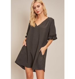 V NECK RUFFLE DRESS