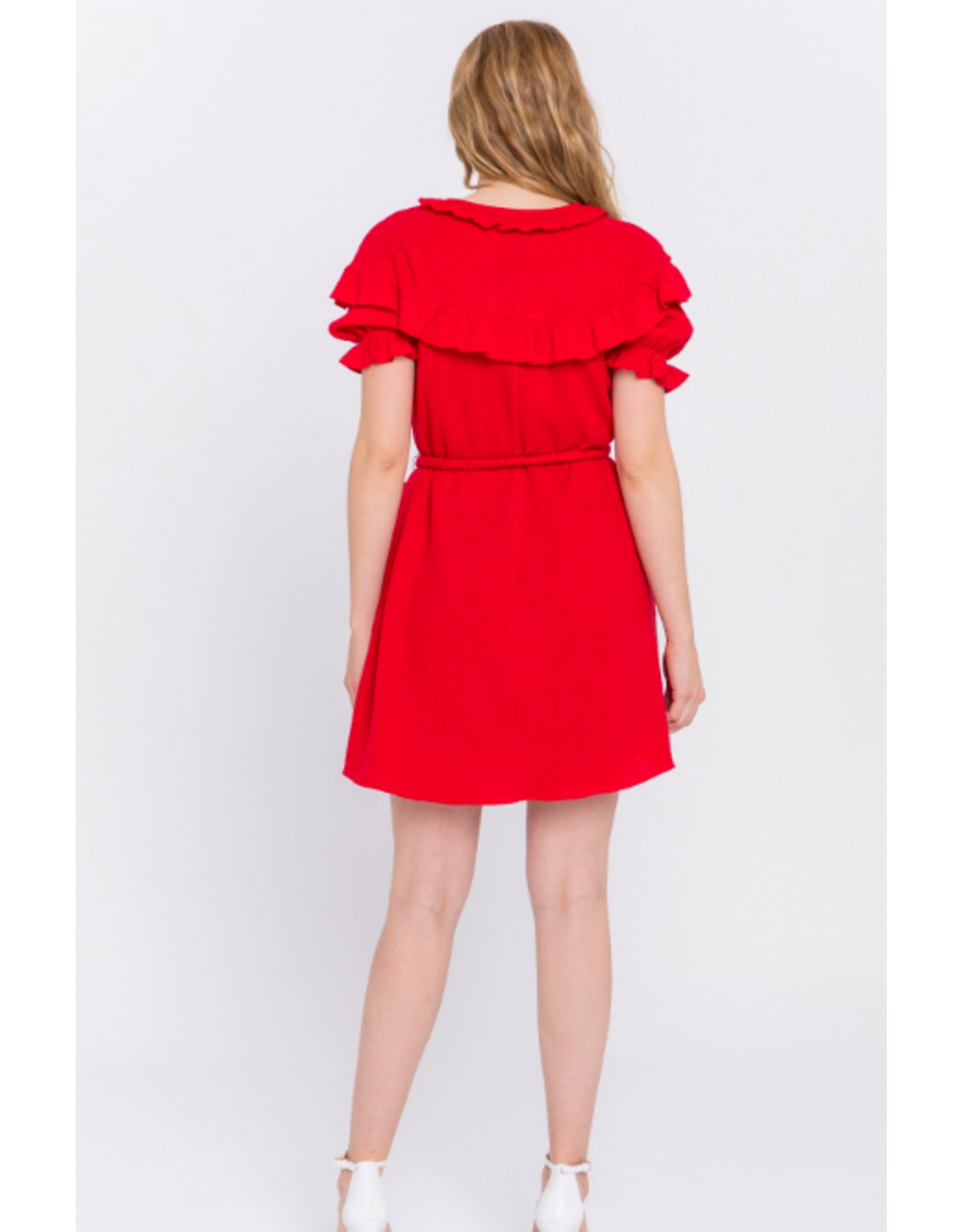 RUFFLED DRESS WITH BRAIDED TIE BELT