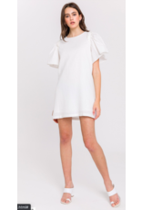 WOVEN FLARE SLV DRESS WITH BACK TIE