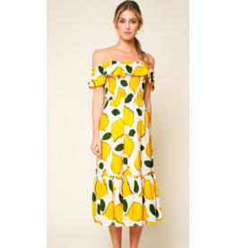 LEMON OFF SHOULDER MAXI DRESS