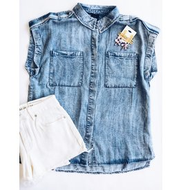 ACID WASH CHAMBRAY BUTTON DOWN