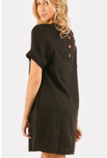 VERY J SHORT SLEEVE DRESS  WITH BUTTON BACK