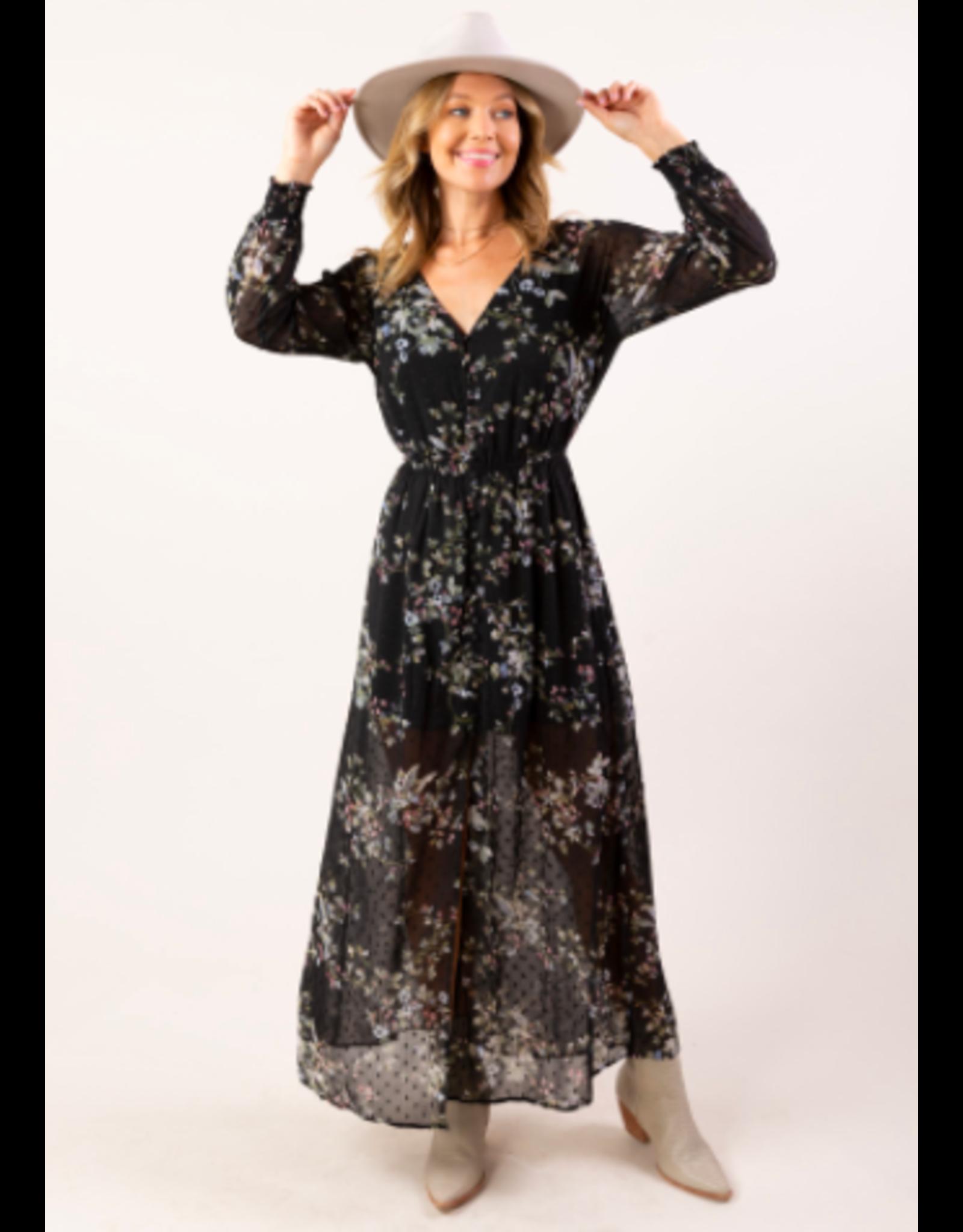 SMOCKED WAIST FLORAL MAXI DRESS