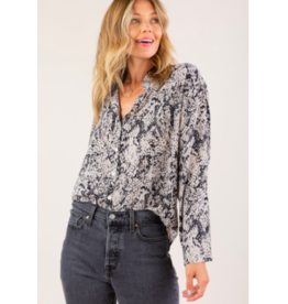 LOVESTITCH MUTED SNAKE SILKY BUTTON UP TOP