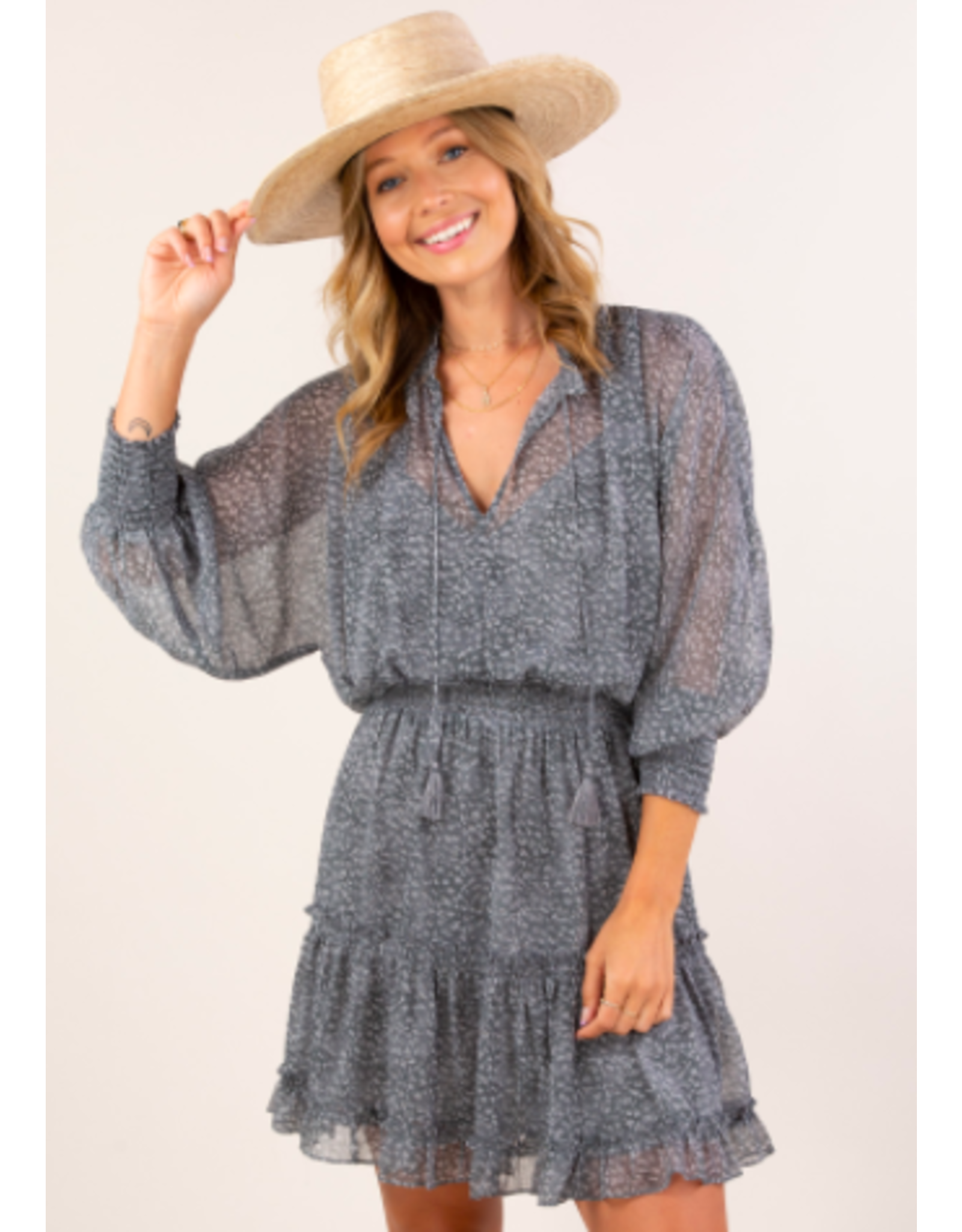 LONG SLEEVE SMOCK WAIST DRESS