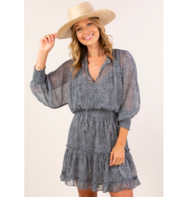 LOVESTITCH LONG SLEEVE SMOCK WAIST DRESS