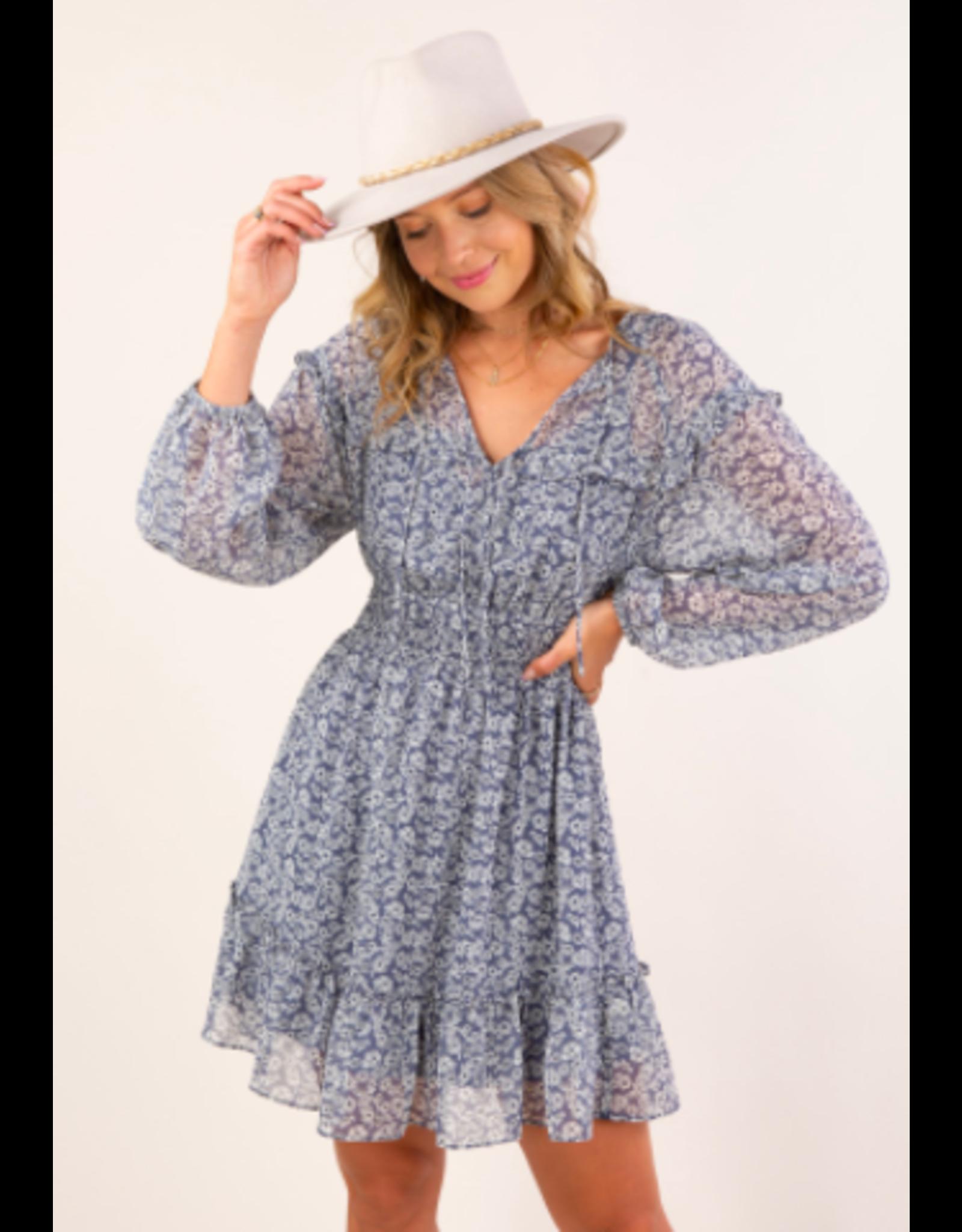 LOVESTITCH SMOCK WAIST FALL FLORAL DRESS
