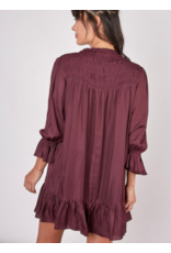 SILKY SMOCKED SHIFT DRESS