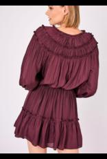 FRONT TIE RUFFLE DRESS