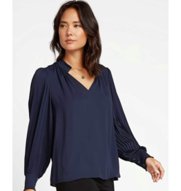 V-NECK PLEATED COLLAR LONG SLV WOVEN TOP