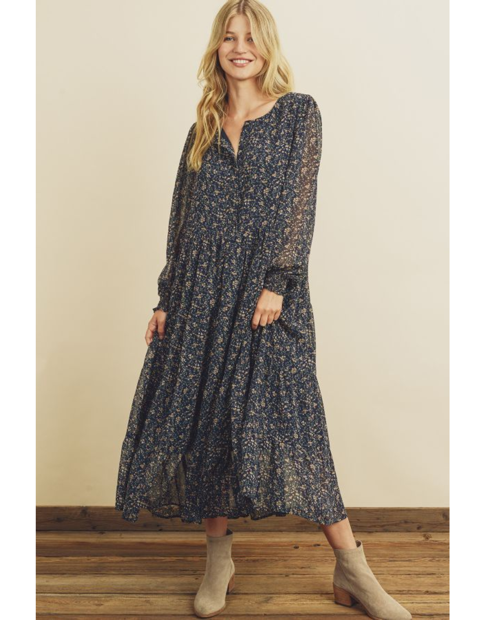DITSY FLORAL TIERED MIDI DRESS