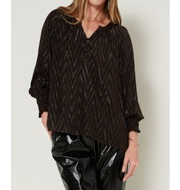METALLIC CHEVRON BLOUSE