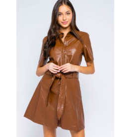 LEATHER PU BELTED DRESS