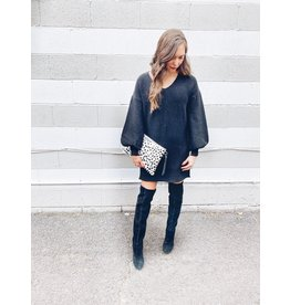 BUBBLE SLEEVE SWEATER DRESS