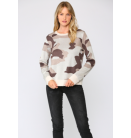 CAMO KNITTED PULLOVER TOP