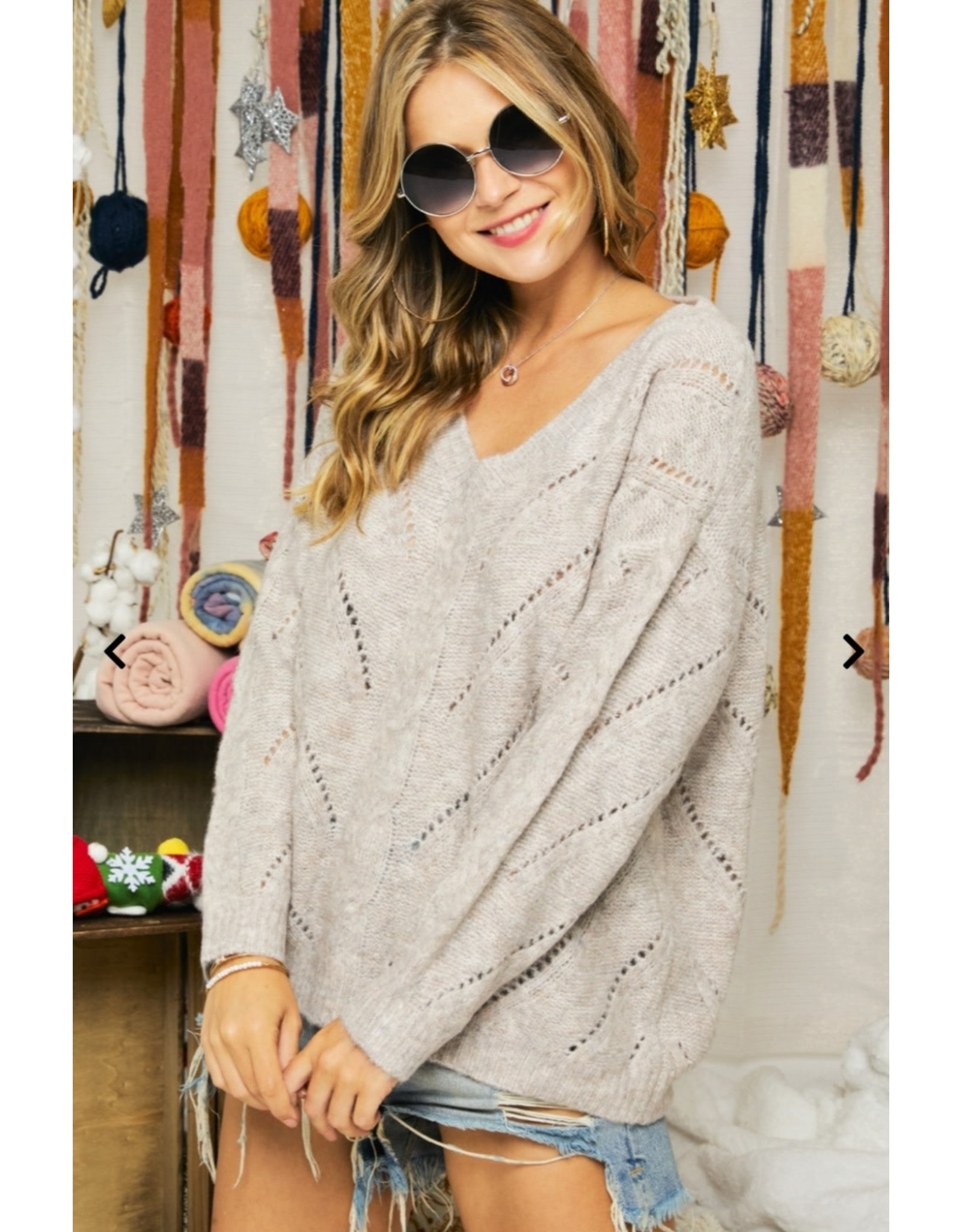 DEEP V NECK KNIT DETAILS SWEATER