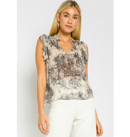 PAINTED ISLANDS RUFFLED TOP