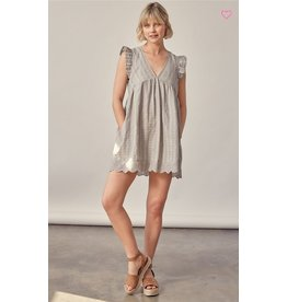 EMBROIDERED V NECK DRESS/ROMPER