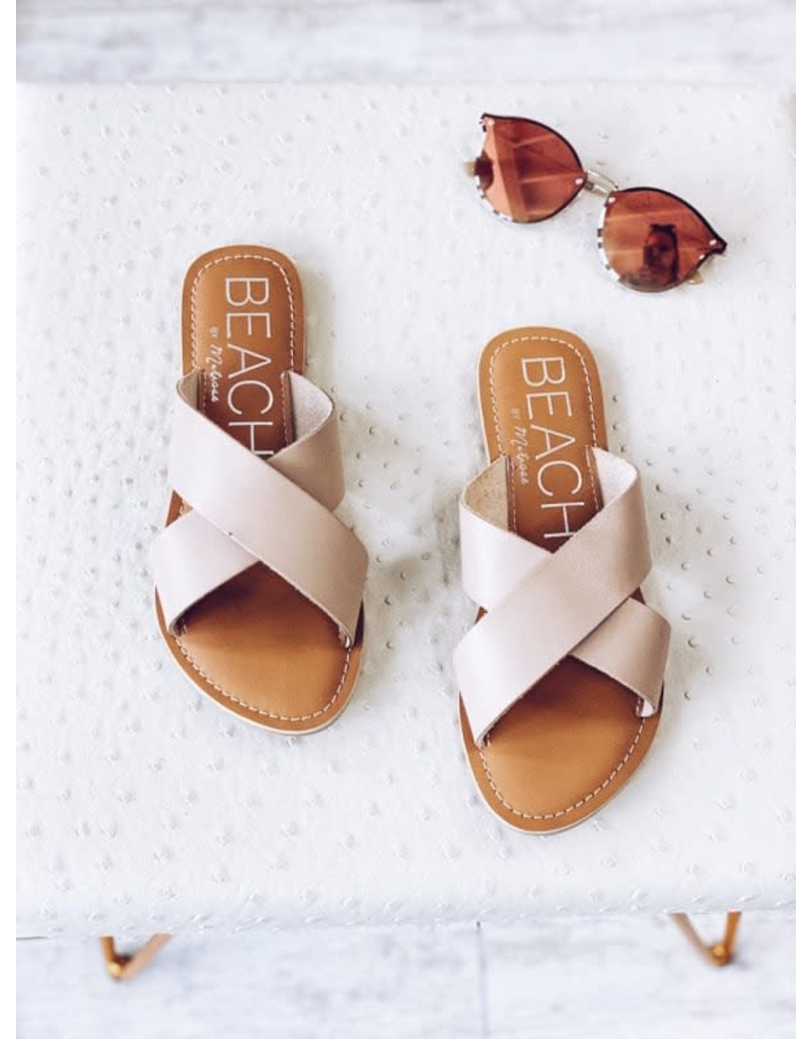 BEACH CRISS CROSS FRONT SLIDE SANDAL