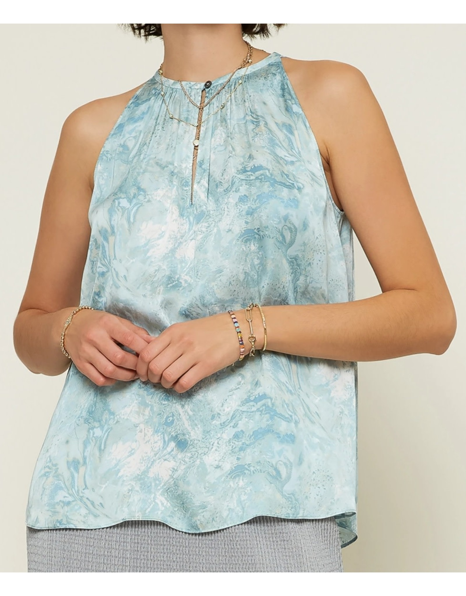MARBLED ROUND NECK KEYHOLE TOP