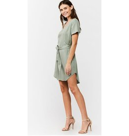 V-NECK PULLOVER DRESS WITH SELF TIE BELT