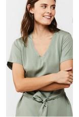 V-NECK PULLOVER DRESS WITH SELF TIE BELT