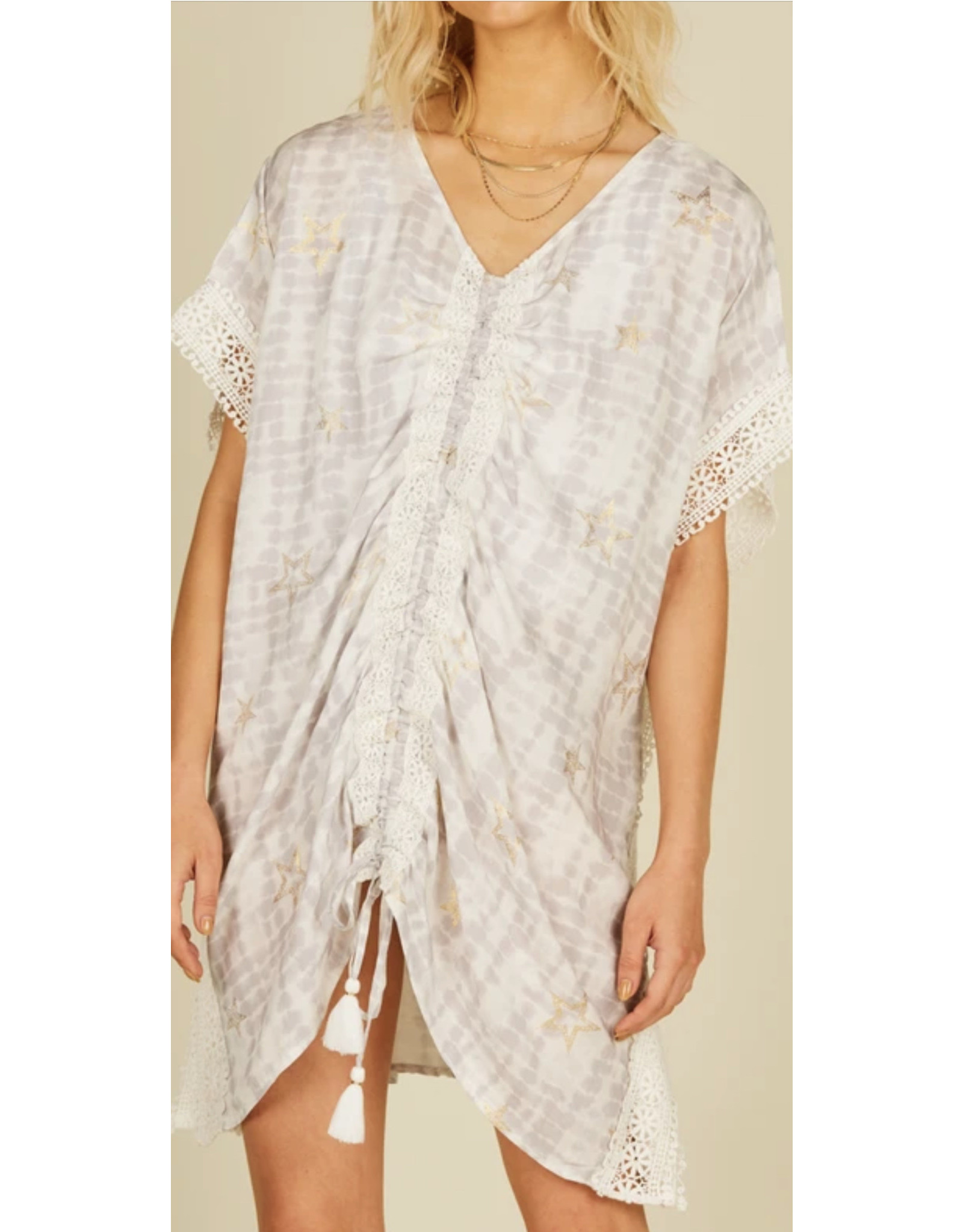 SURF GYPSY TIE DYE COVER UP WITH METALLIC STARS
