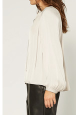 TIE FRONT SILKY BLOUSE LONG SLV