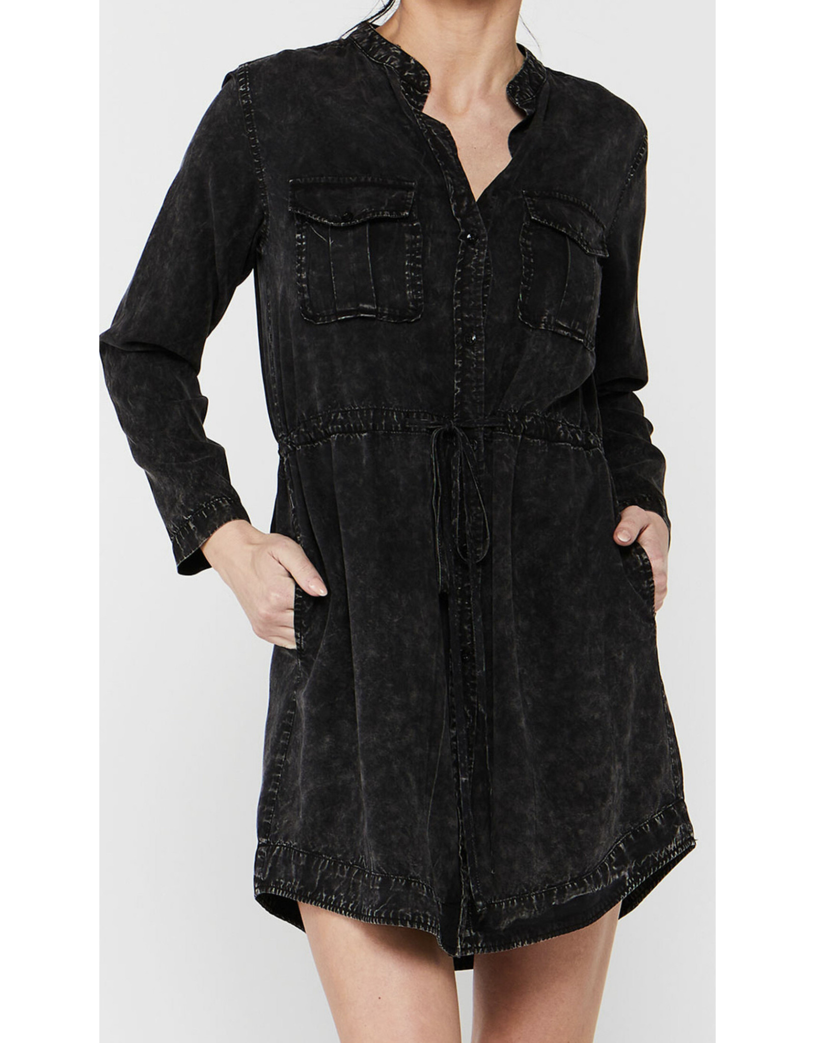 MINERAL WASH BUTTON FRONT DRESS